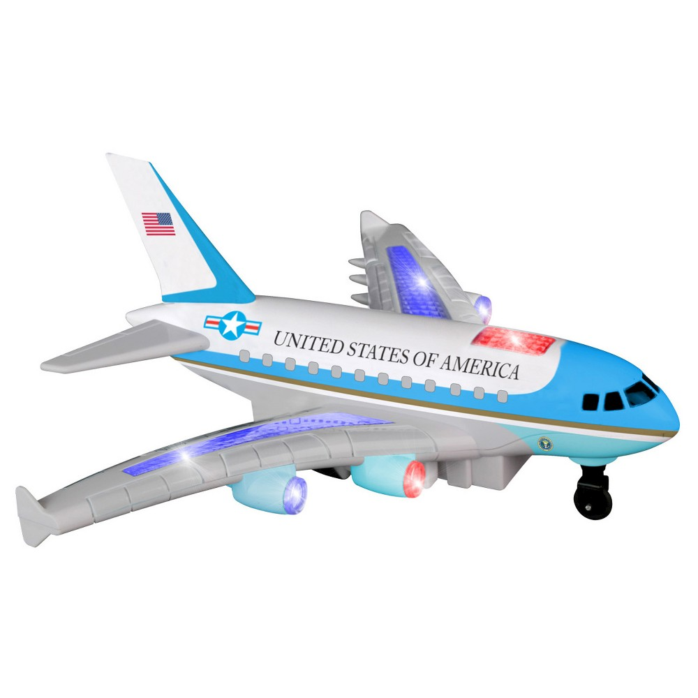 Daron Radio Control Air Force One Plane with Lights and Sound Radio Control Air Force One Plane features lights and sound. Fast floor moving motion and a quick rate of speed. Plane goes forward and backwards on the ground. Has lights and sounds. Requires 6 AA batteries. Gender: unisex.