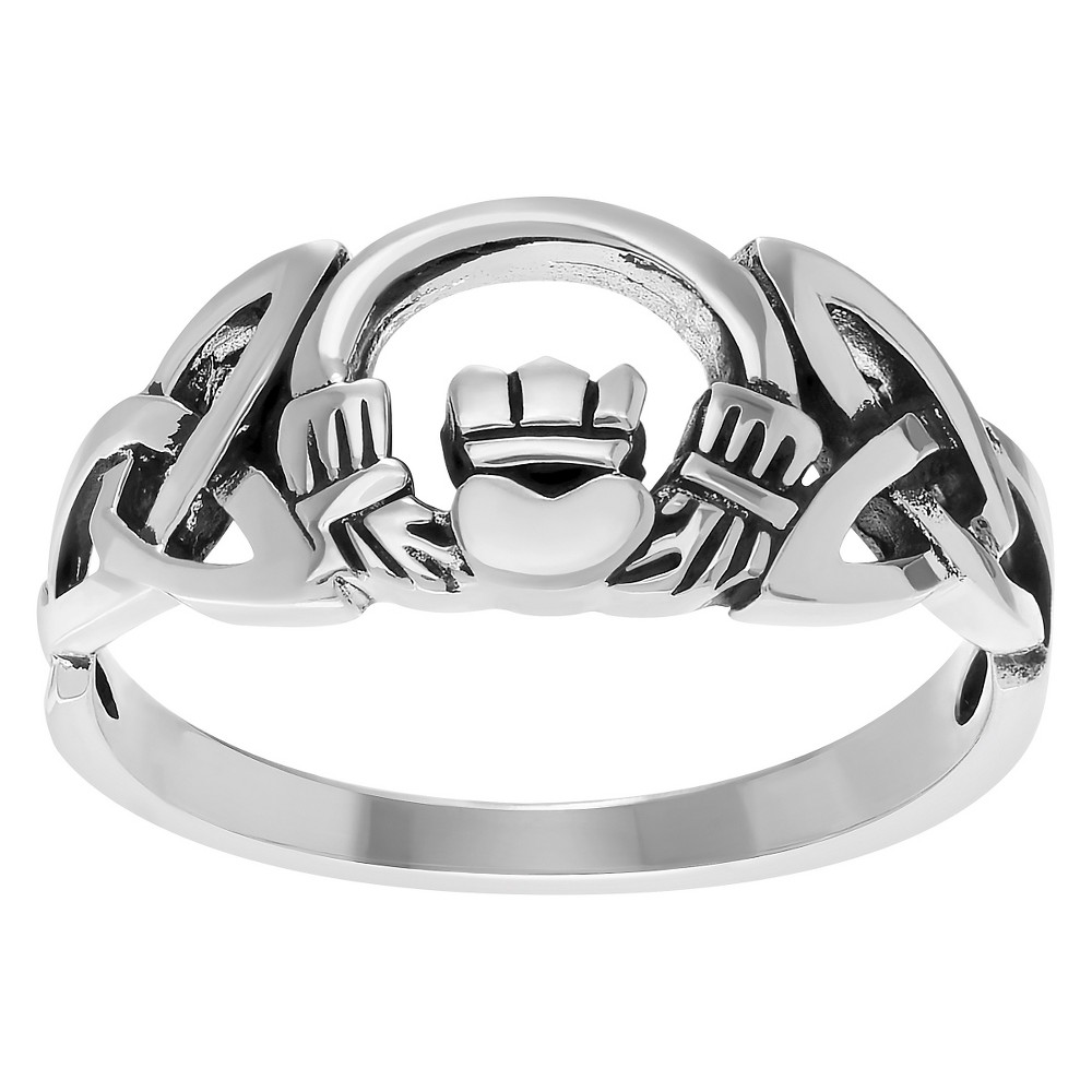 Women's Journee Collection Lustrous Celtic Claddagh Ring in Sterling Silver - Silver, 8