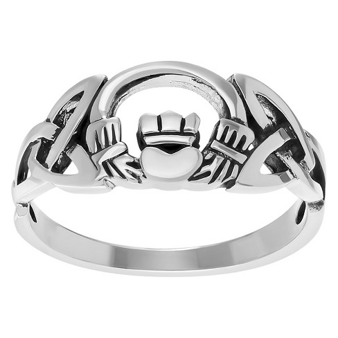 Women's Journee Collection Lustrous Celtic Claddagh Ring in Sterling Silver - Silver - image 1 of 2