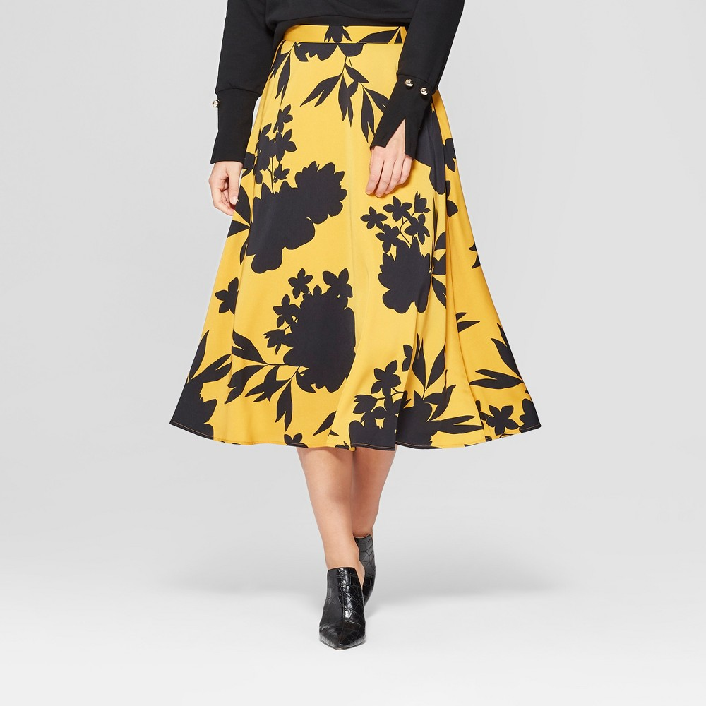 Women's Floral Print Full Silky Midi Skirt - Who What Wear Yellow/Black 2, Yellow/Black Floral