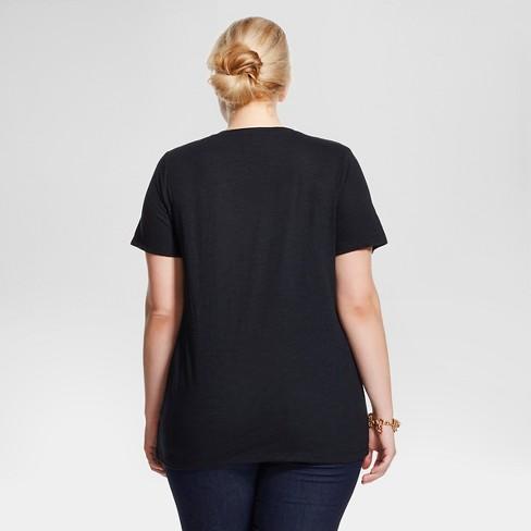 4b78e86764be Women s Plus Size Core V-Neck T-Shirt - Ava   Viv™   Target