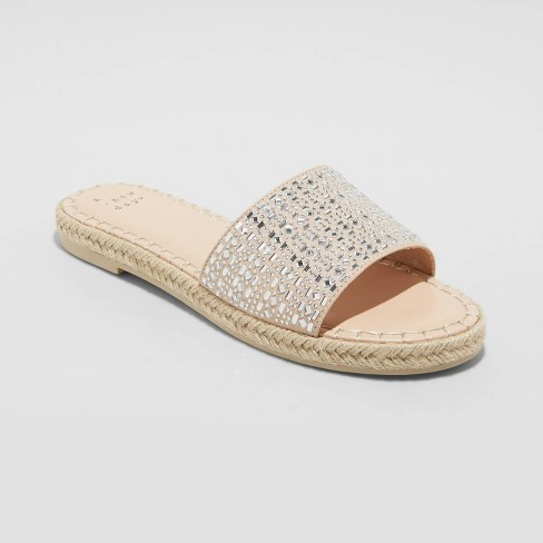 Women's Kenna Embellished Espadrille Sandals - A New Day™ Tan - image 1 of 4