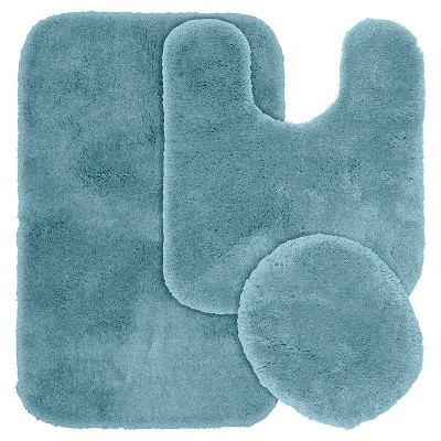 3pc Finest Luxury Ultra Plush Washable Nylon Bath Rug Set Blue - Garland