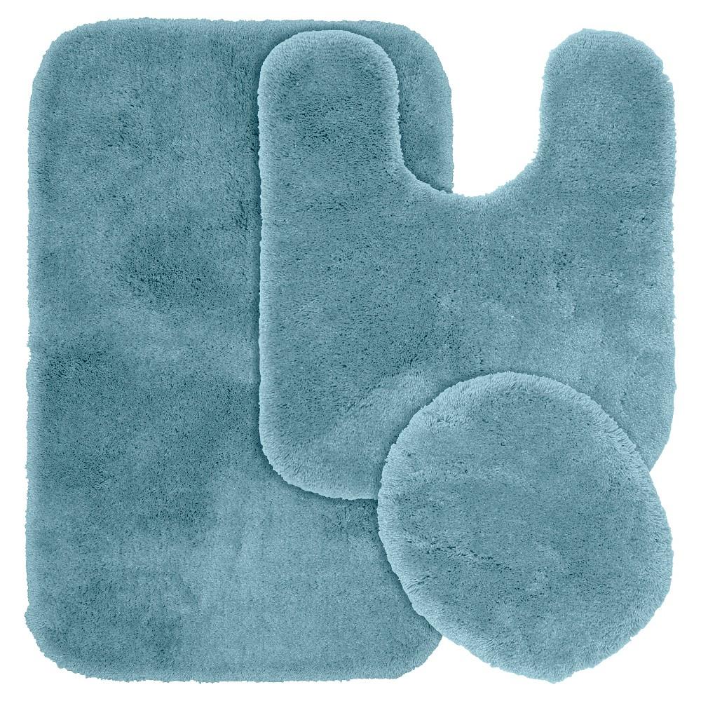 Garland 3 Piece Finest Luxury Ultra Plush Washable Nylon Bath Rug Set - Basin Blue