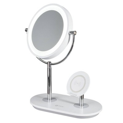 Makeup Mirror with Qi Charging Stand White (Includes LED Light Bulb) - OttLite