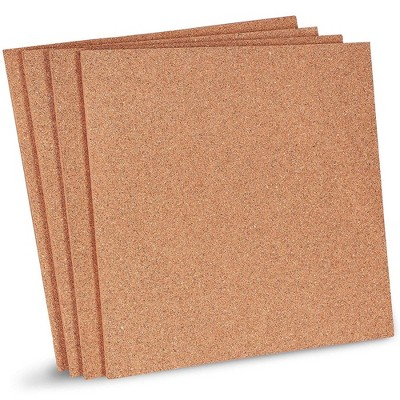 Natural Cork Tile Boards, Frameless Mini Wall Bulletin Boards (12 x 12 Inches, 4-Pack)
