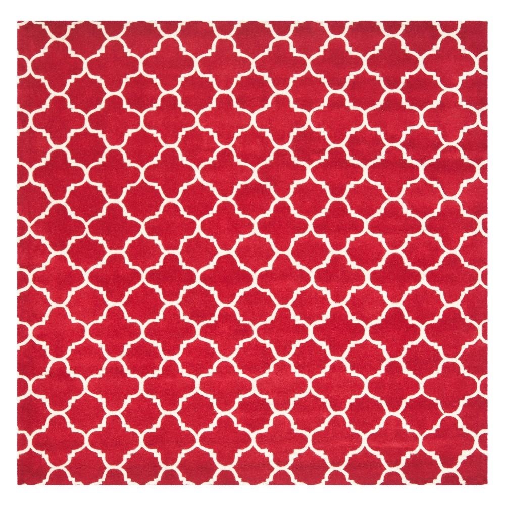 7'X7' Quatrefoil Design Tufted Square Area Rug Red/Ivory - Safavieh