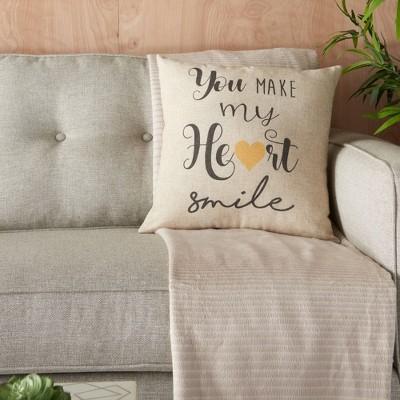 "18""x18"" Home Make My Heart Smile Throw Pillow Natural - Kathy Ireland Home"