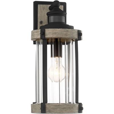 "John Timberland Rustic Outdoor Wall Light Fixture Wood Black 15 1/2"" Pleated Glass Motion Sensor Exterior House Porch Patio Deck"