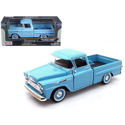 1958 Chevrolet Apache Fleetside Pickup Light Blue 124 Diecast Car