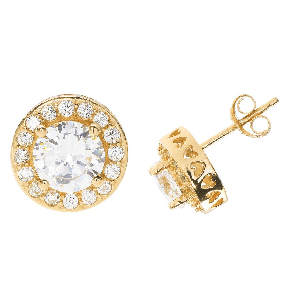 Women's 14K Gold Over Sterling Silver Round Cubic Zirconia Stud Earrings -Gold/Clear (0.37), Yellow