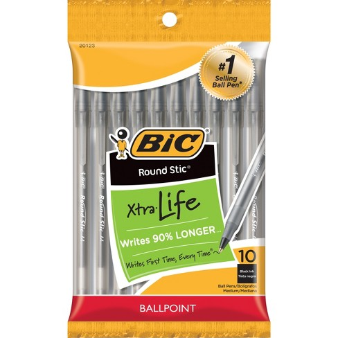 BIC Xtra Life Ballpoint Pens, Medium Tip, 10ct - Black - image 1 of 4