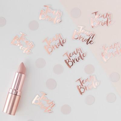 """Team Bride"" Foiled Confetti Tag Rose Gold"