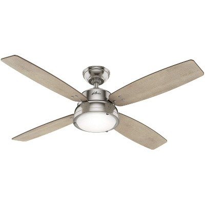 Hunter Fan Company 59439 Wingate 52 Inch Quiet Home Ceiling Fan with Energy Efficient LED Light Kit and Remote Control, Brushed Nickel