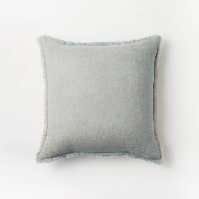 Square Linen Throw Pillow with Contrast Frayed Edges Green/Cream - Threshold™ designed with Studio McGee