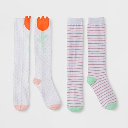 3945c07c842 Girls  2pk Flower High Knee Socks - Cat   Jack™ White S   Target