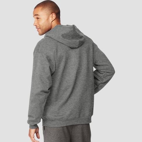 Hanes Men's Ultimate Cotton Full Zip Hooded Sweatshirt Charcoal Heather 2XL