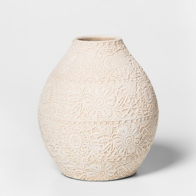 6.7  x 6  Earthenware Lace Vase White - Threshold™