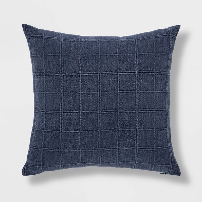 Woven Washed Windowpane Square Pillow Blue - Threshold™