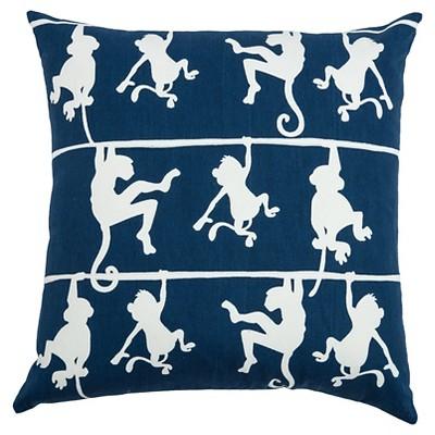 Navy Swinging Monkeys Throw Pillow (20 x20 )- Rizzy Home