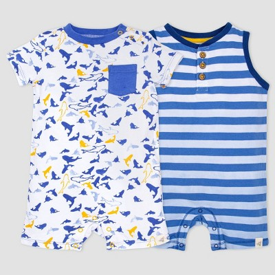 Burt's Bees Baby® Baby Boys' 2pk Shark Print and Striped Romper Set - Blue/Yellow