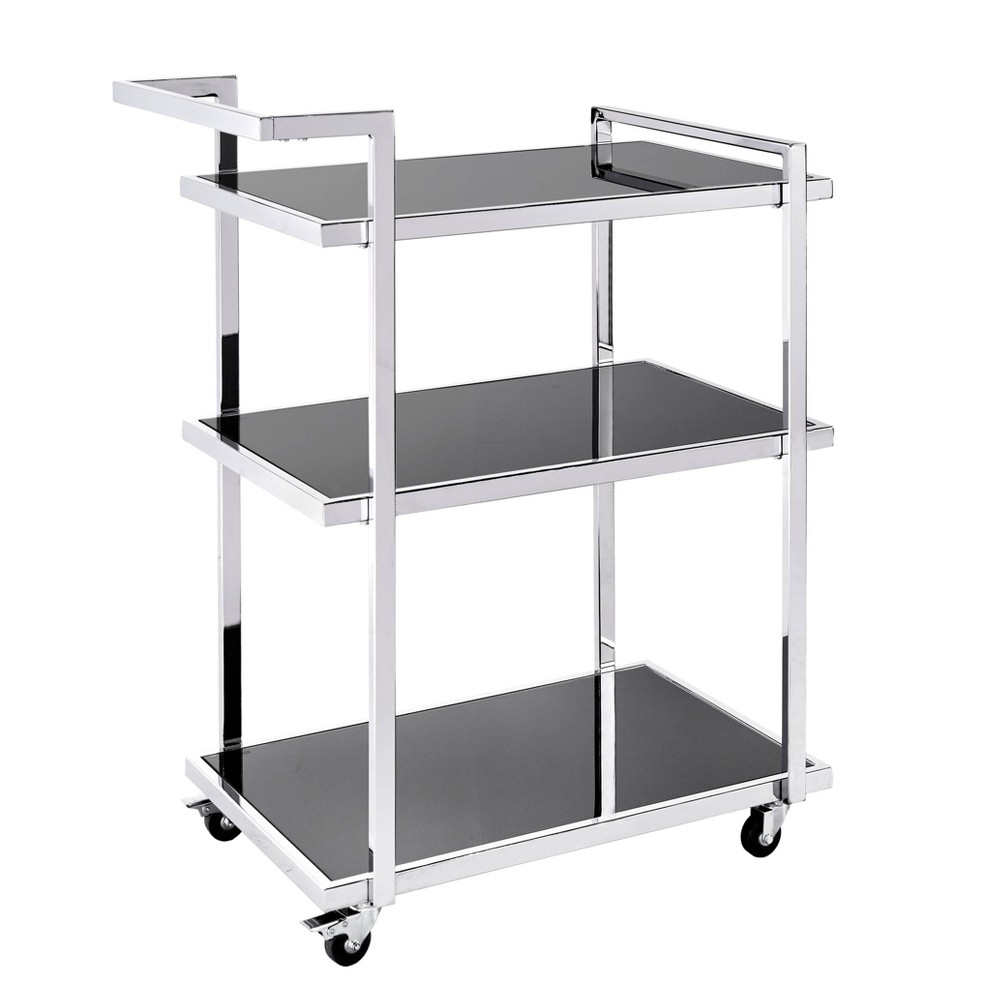 Colton Chrome (Grey) Finish Metal Bar Cart Chrome - Inspire Q