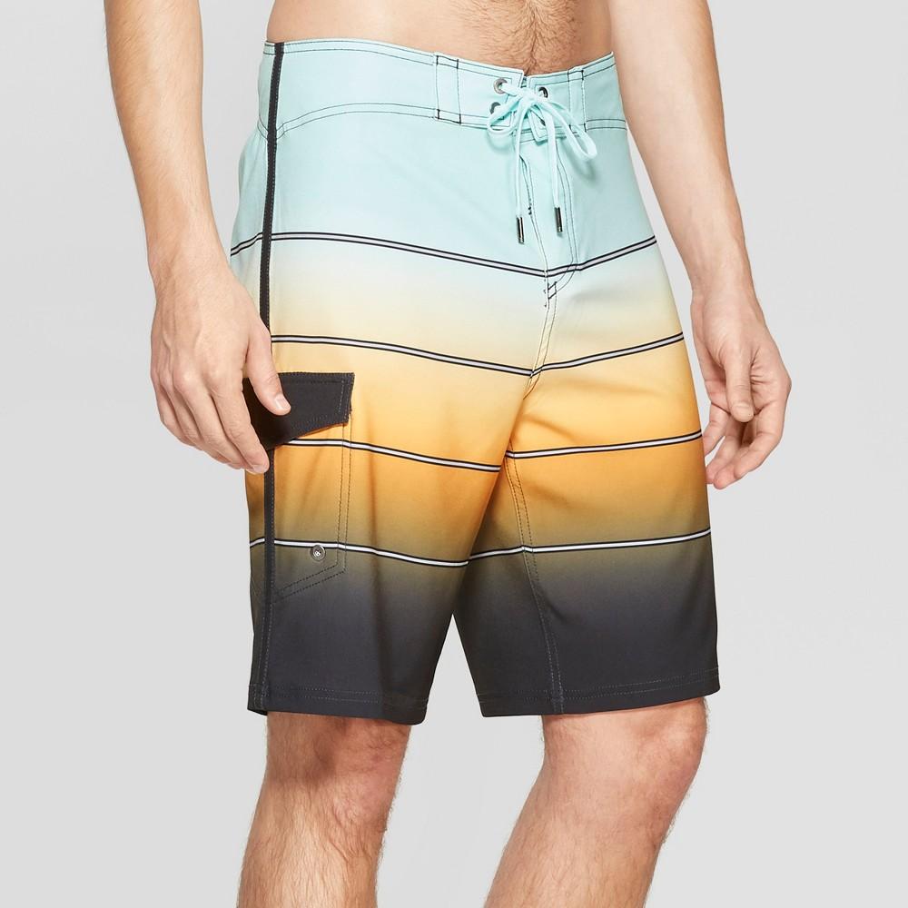 Men's 10 Striped Bleached Board Shorts - Goodfellow & Co Orange 38