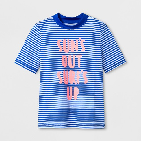 Girls' Short Sleeve Sun's Out Stripe Rashguard - Cat & Jack™ Blue - image 1 of 1