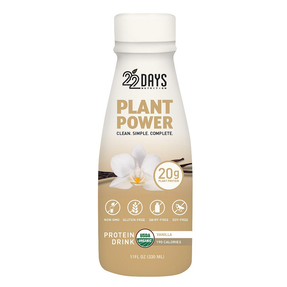 Image of 22 Days Nutrition Organic Vegan Protein Drink - Vanilla - 11 fl oz/4ct