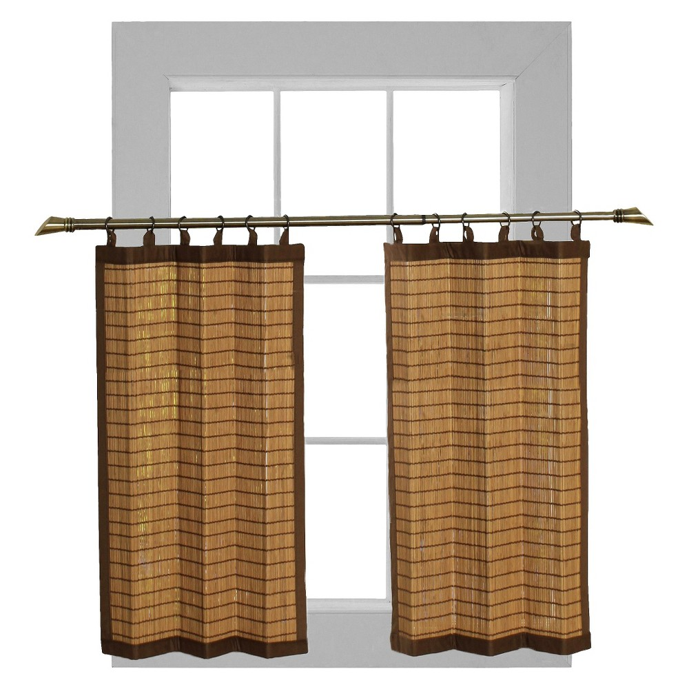 "Image of ""24x24""""Curtain Tier Set Bamboo Ring Top Light Brown - Versailles Home Fashions"""