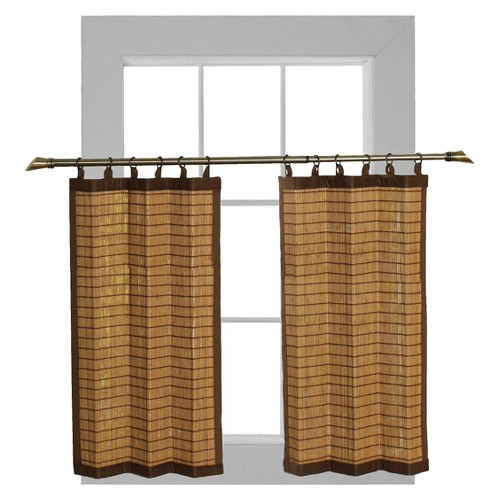 'Curtain Tier Set Bamboo Ring Top Colonial (24''x24'') - Versailles , Size: 24x24'''
