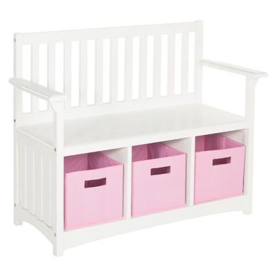 Kids Storage Bench with Bins - White - Guidecraft