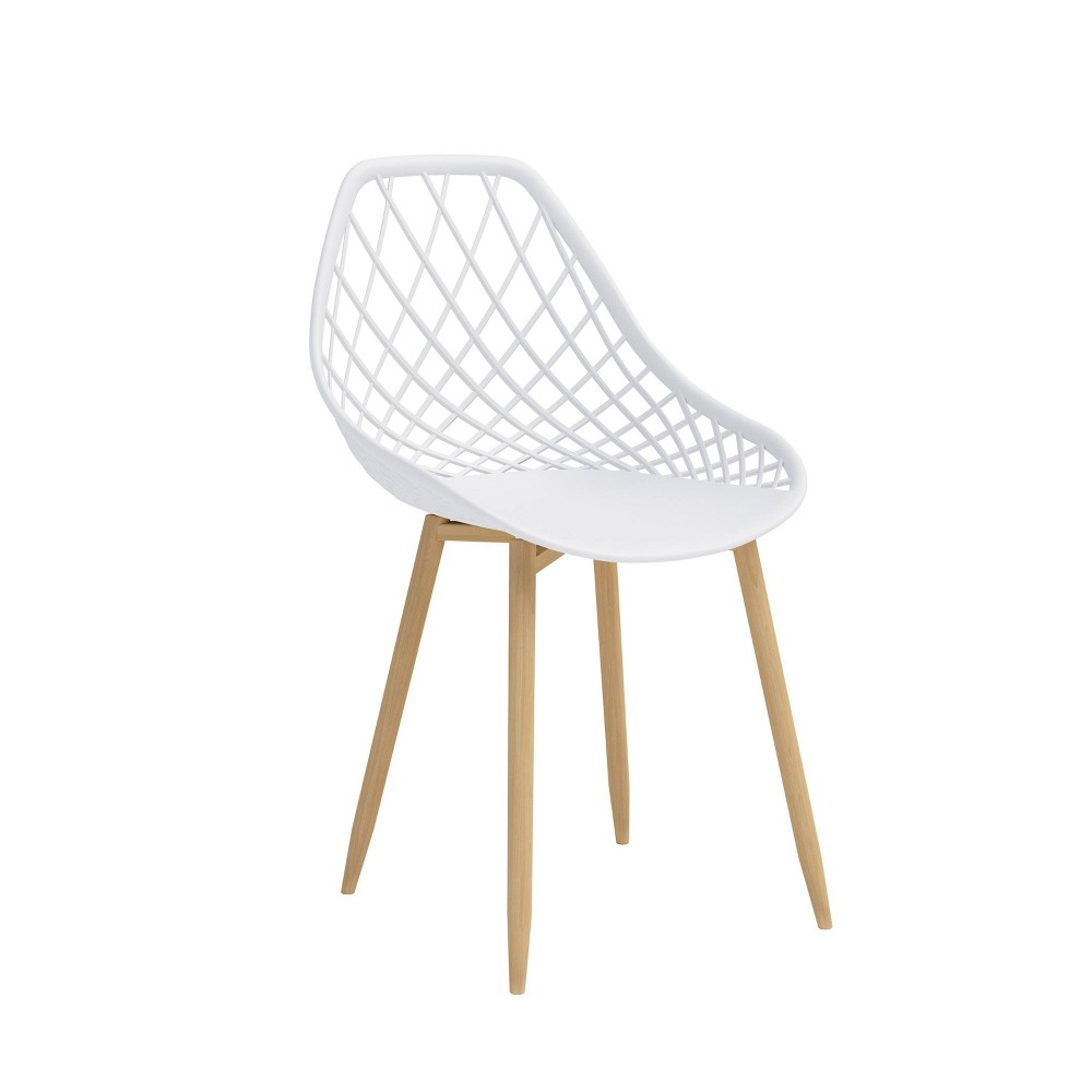 Image of Set of 2 Kurv Dining Chair White/Natural - Jamesdar