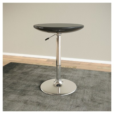 Adjustable Height Round Bar Table   Glossy Black   CorLiving