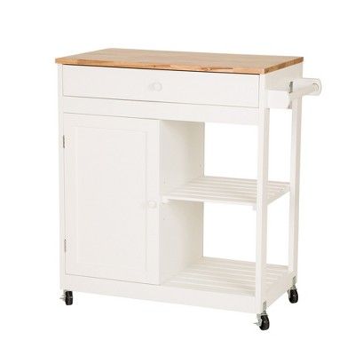 Wood Top Kitchen Island White - Glitzhome