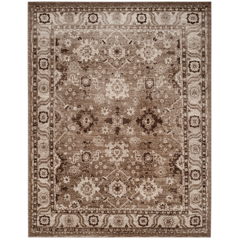 Loomed Floral Area Rug Taupe