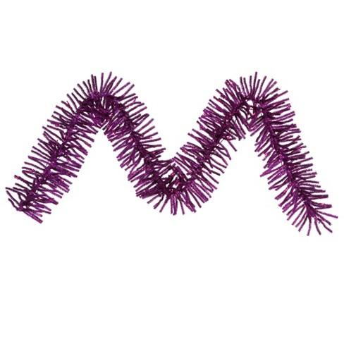 "Vickerman 9' x 10"" Prelit Sparkling Purple Tinsel Artificial Christmas Garland - Purple Lights - image 1 of 2"