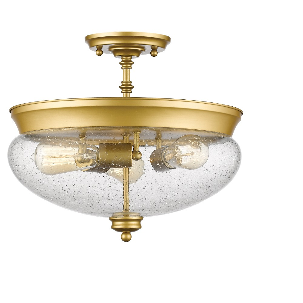 Semi Flush Mount Ceiling Lights with Clear Seedy Glass (Set of 3) - Z-Lite