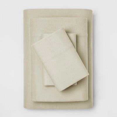 Full Fall Flannel Eco-Melange Sheet Set Birch - Threshold™