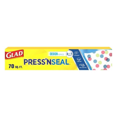 Glad Press'N Seal Plastic Food Wrap Roll + Designer Series Plastic Food Wrap - 70 sq ft