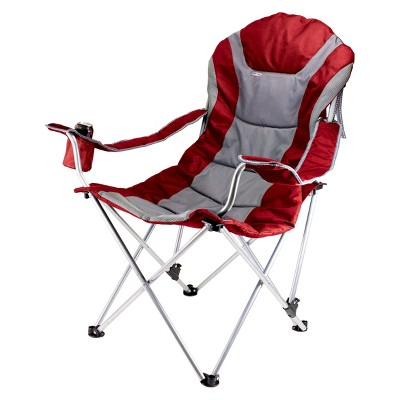 Picnic Time Reclining Camp Chair with Carrying Case - Dark Red/ Gray (12.5 Lb)