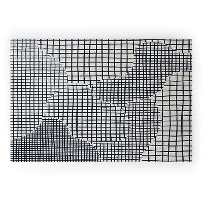 Alisa Galitsyna Dark Blue Grid Pattern Looped Vinyl Welcome Mat - Society6
