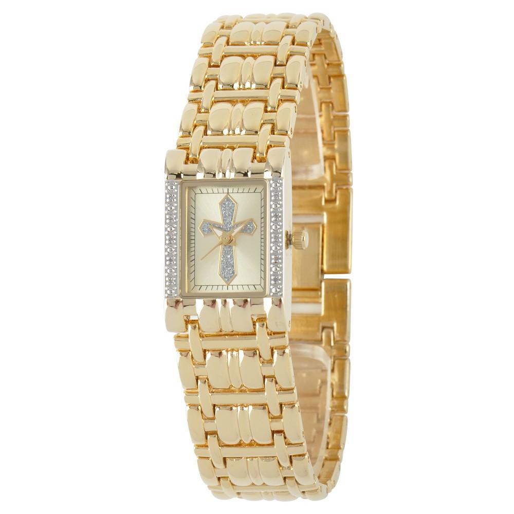 Image of Women's eWatchfactory Cross Rectangular Bracelet Watch - Gold, Size: Small