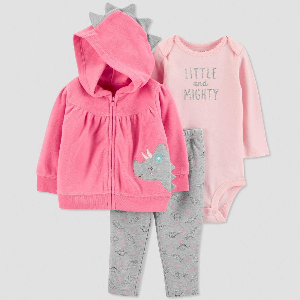 Baby Girls' 3pc Dino Cardigan Set - Just One You made by carter's Pink 9M