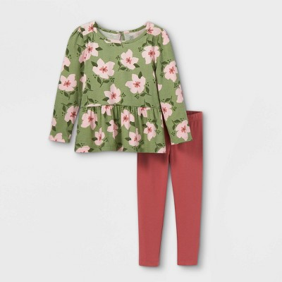 Toddler Girls' 2pc Floral Long Sleeve Top & Leggings Set - Just One You® made by carter's Green/Pink