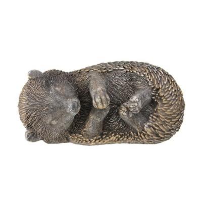 """Roman 8"""" Sleeping Hedgehog Spring Garden Statue Outdoor Decoration - Bronze"""