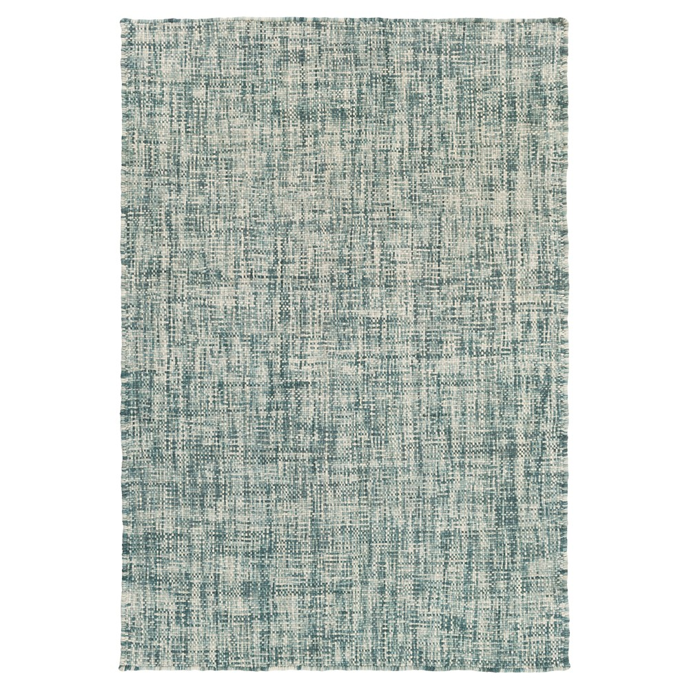 Teal (Blue) Solid Woven Accent Rug (3'3