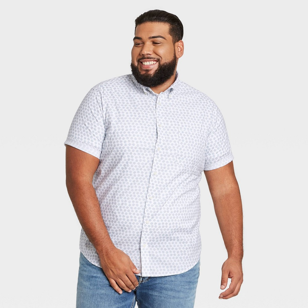 Men 39 S Big 38 Tall Leaf Print Standard Fit Stretch Poplin Short Sleeve Button Down Shirt Goodfellow 38 Co 8482 Sage Leaf 4xbt