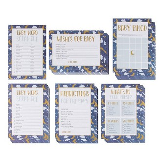 Juvale 5-Set Baby Shower Game Cards Party Activity Supplies Including Bingo Word Scramble Prediction Well Wishes Starry Night Design Up To 50 Guests : Target