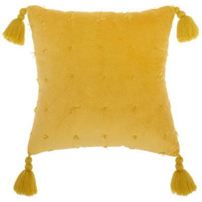 "18""x18"" Life Styles Hand Knotted Velvet Square Throw Pillow Yellow - Mina Victory"